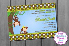 Blue Green Brown Monkey Boy Baby Shower Invitation by CuddleBugInvitations