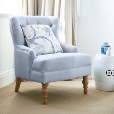 Featuring an elegant buttoned back flowing into chic pleated roll arms, our Linen Buttoned Armchair is beautifully crafted and offers both comfort and superb style. Availability: Due late September Mixed Dining Chairs, Mid Century Dining Chairs, Accent Chairs For Living Room, Desk Chair Target, Desk Chairs, Office Chairs, Lounge Chairs, Outdoor Chairs, Duck Egg Blue Linen