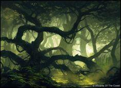 Swamp by Andreas Rocha Fantasy Magic, Fantasy Forest, Fantasy World, Fantasy Art, Magic Forest, Tree Forest, Landscape Concept, Fantasy Landscape, Environment Concept Art