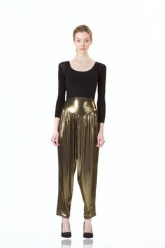 Cleopatra Pants by Kali. Stretch cotton harem pants in a bright gold-colored fabric with a hint of shine. Pair with a solid-color tank for an easy-to-wear look that's cool, confident, and fun. #Fashion #style