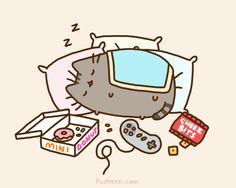 pusheen the cat gifs | pusheen_the_cat_perfect_weekend