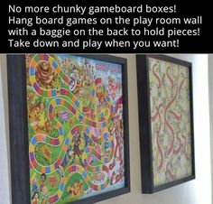 Cute Idea....hanging Game Boards with Baggy Full of Game Pieces!!! Bebe'!!! Great Artwork for a Family or a Playroom!!!