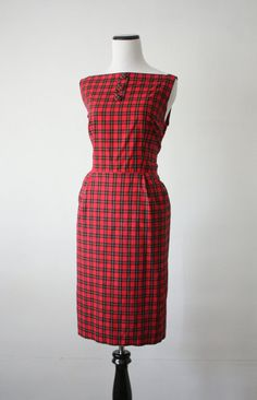 1950s cotton plaid dress