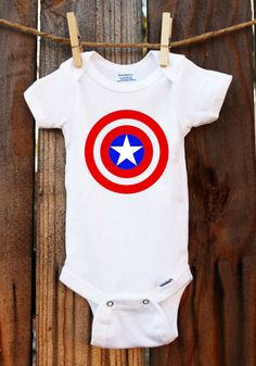 Captain America Onesie Avengers Baby by TheLittleStork on Etsy Captain America Onesie, Nerdy Baby Clothes, Ugly Baby, Baby Wish List, Teen Girl Fashion, Studio Ghibli, Future Baby, Little Babies, Costume