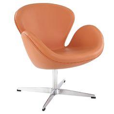 Amazon.com - LexMod Arne Jacobsen Swan Chair in Orange Aniline Leather - Armchairs
