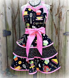Hostess Apron - Retro Inspired Style With Ruffled Sweetheart Neckline - Cupcake Bakery Print - Three Layer Circle Cut Skirt