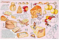 ru / Фото - Encyclopedie du Point de Croix-Fruits-Legumes et autres Gour - Chispitas Crochet Projects, Craft Projects, Cross Stitch Kitchen, Thread Art, Food Themes, Cross Stitching, Cross Stitch Patterns, Needlework, Mini