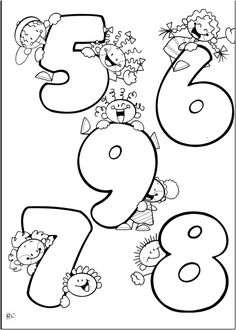 Números del 5 al 9, para colorear, pintar, dibujar, decorar. 5 6 7 8 9.