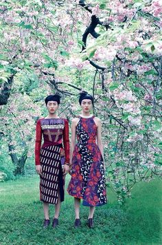 Cherry blossom trees photographed at the New York Botanical Garden, with models Liu Wen and Fei Fei Sun clad in Peter Pilotto.   Photographed by Mikael Jansson, Vogue, 2014.