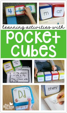 Pocket Cubes Learning Activities - This Reading Mama, Spelling Activities, Reading Activities, Teaching Reading, Teaching Math, Classroom Activities, Classroom Ideas, Seasonal Classrooms, Time Activities, Preschool Ideas