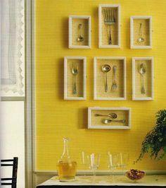 Inexpensive Kitchen Wall Decorating Ideas silverware art wall decor on rustic red barnbeesinthebonnettd