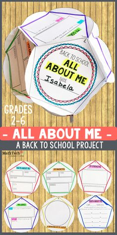 Back to School - All About Me - Project! This fun back to school project is perfect for the first week of school.  After students complete the project, hang up as a classroom display.  This is perfect for Open House :)