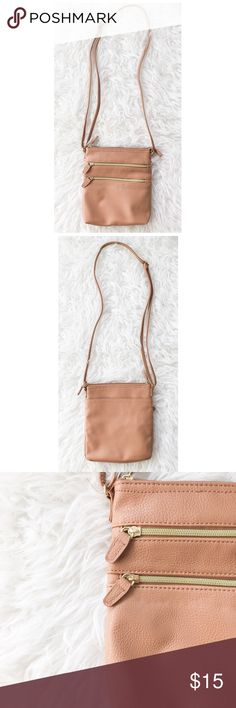 """Camel Crossbody Unused and in excellent condition. Features 2 front zip pockets, 1 back pocket, zip top with 1 zipper pocket on the inside. Adjustable strap. """"Gold"""" accents. Unbranded. No trades! Forever 21 Bags Crossbody Bags"""