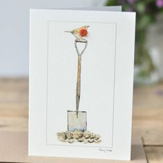 Bird Greeting Card, Robin On A Spade