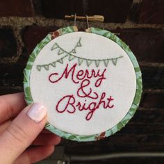 Merry & Bright Christmas Embroidery Hoop by tenfeetoffbeale, $12.00
