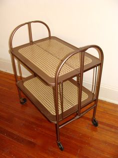Mid Century Metal Rolling Cart Folding Bar Cart Collapsible Bookcase or Kitchen Storage Retro Rattan Detailing On Wheels