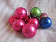 12 Pink Green and Blue Vintage Mini Ornaments - Flaky and aged glass ball ornaments for your vintage Christmas, $4.99