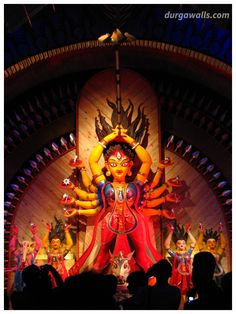 The main theme of Chetla Agrani Club Durga Puja is gateway. The gateway from earth to heaven. The pandal represents that. Durga Puja Kolkata, Kali Puja, Indian Goddess Kali, Durga Goddess, Sri Ganesh, Ganesha Art, Ganpati Bappa Photo, Durga Ji, Navratri Wishes