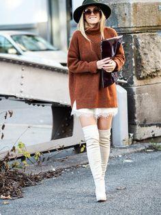 Lene Orvik Black Hat Cream Slip Dress Cream Ot K B Camel Fuzzy Sweater Fall Inspo