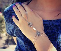 opal and filigree slave bracelet , ring bracelet, slave ring,  hand harness, unique bracelet, opal ring