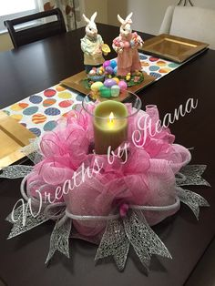 Centerpiece for a wedding,#pinkcenterpiece, pink deco mesh centerpiece https://www.facebook.com/pages/Wreaths-by-Ileana/690079201043178