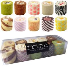 Pretty Japanese Swiss Roll Cakes ~ A sampler of mini swiss rolls, homemade. Would make a nice gift
