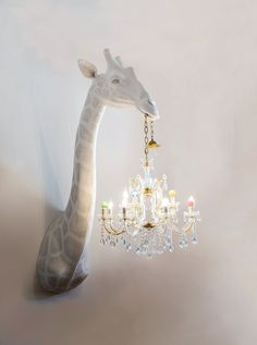 Yes please to this Giraffe holding a chandelier lampshade! The artist creates the handmade objects with traditional sculpture techniques adding an unexpected twist — classical chandeliers or their parts. Design Jobs, Home Design, Design Design, Chandeliers, Chandelier Ideas, Kids Room Chandelier, Chandelier Lighting, Room Decor For Teen Girls, Girls Bedroom