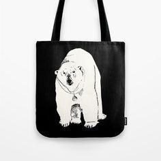 Polar Bear Tote Bag bear tote bag black and by RiverOakStudio