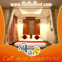 Extraordinary Luxurious Master Bedroom at Hotel Saffron Leaf. For more details contact us @ +91 135-2521400/01/02