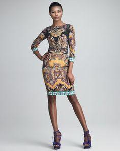 Three-Quarter-Sleeve Boat-Neck Dress by Etro at Bergdorf Goodman.