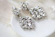 Modern vintage Swarovski Crystal Bridal chandelier earrings - Tiffany – Treasures by Agnes