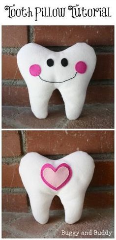 DIY Tooth Pillow: Tutorial for making your own pillow for the to hold teeth using felt! Super easy and makes a great homemade gift for kids! ~ BuggyandBuddy.com