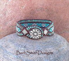 Bracelet manchette argent Aqua turquoise  la par BarbSmithDesigns