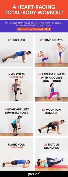 The goal? Finish within 15 minutes. #quick #workout http://greatist.com/move/heart-racing-total-body-workout