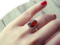 stone ring, crystal ring, hessonite ring, pear ring, silver ring, vintage ring, classic ring, elegant ring, orange stone ring, orange brown by CarmelaRosa on Etsy https://www.etsy.com/listing/206449392/stone-ring-crystal-ring-hessonite-ring