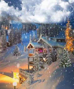 Merry Christmas Gif, Christmas Scenery, Winter Scenery, Christmas Landscape, Scenery Pictures, Winter Pictures, Christmas Pictures, Days Until Xmas, Animated Christmas Wallpaper