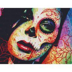 Pop Art Day of the Dead Sugar Skull Girl Portrait Art Print - Dead Inside by Carissa Rose Sugar Skull Mädchen, Sugar Skull Tattoos, Visual Kei, Maquillaje Sugar Skull, Tattoo Artwork, Skull Artwork, Skull Drawings, Girl Drawings, Piercings
