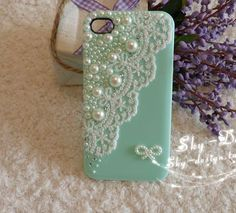 white lace and bling pearls high-quality pink mobile /cell phone case for iphone5S protective cover  by handmade [JCZL DIY Shop] $5.20