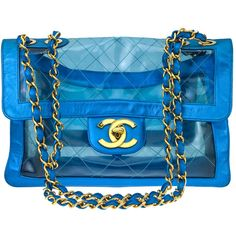 VINTAGE CHANEL BLUE METALLIC/PVC JUMBO BAG ❤ liked on Polyvore featuring bags, handbags, shoulder bags, chanel, purses, bolsas, handbags purses, man bag, chanel shoulder bag and handbags shoulder bags