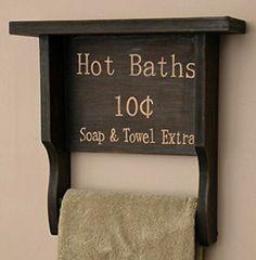 New-Country-Primitive-Bathroom-BLACK-TOWEL-BAR-SHELF-Holder-HOT-BATH-TOWEL-EXTRA