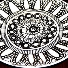 Black and White Hand Illustrated Dinner Plate