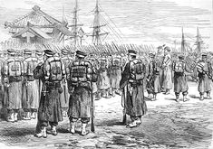 Imperial troops embarking at Yokohama to fight the Satsuma rebellion in 1877. Illustrated London News.