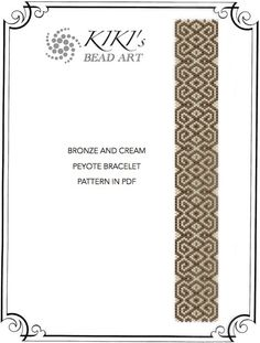 Peyote Pattern for bracelet - Bronze and cream peyote bracelet cuff PDF pattern