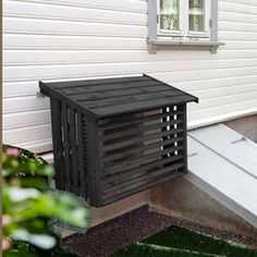 Pool Equipment Enclosure, Pool Equipment Cover, House Deck, Facade House, Air Conditioner Cover Outdoor, Bali Style Home, Ac Cover, Shed Homes, Outdoor Living