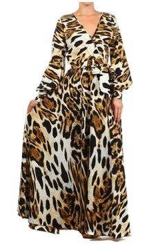 Details about LEOPARD Animal Print MAXI DRESS Jersey FAUX WRAP ...