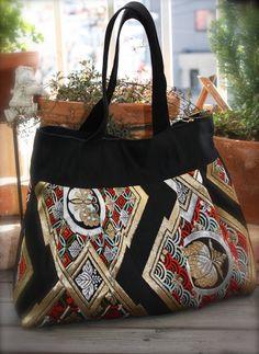 BK324 Beautiful Black Obi Pleated Tote Bag With A by RummyHandmade, $80.00