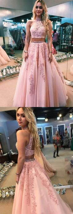 Two piece pink long prom dress, high neck pink long prom dress with open back #prom #promdress #cheapdress #sexydress #fashiondress #homecomingdress #formaldress #partydress