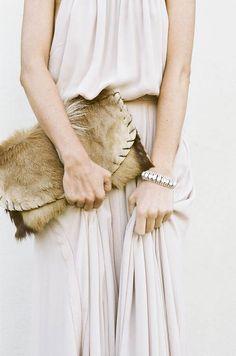 Deer hide bag and bracelet