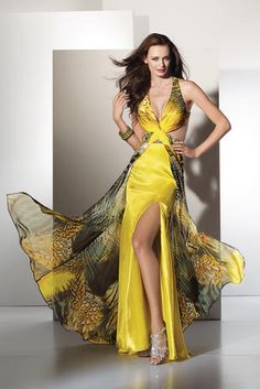 Looks like a yellow and black butterfly sexy Low Back Prom Dress by Alyce Designs, dress style 6738 has a deep v-neckline on a yellow print overskirt. The gown features a very sexy bare waist and front slit skirt. Unique Formal Dresses, Formal Gowns, Formal Wear, Cotton Silk Fabric, Evening Dresses, Prom Dresses, Dresses 2013, Prom Dress 2013, Mellow Yellow
