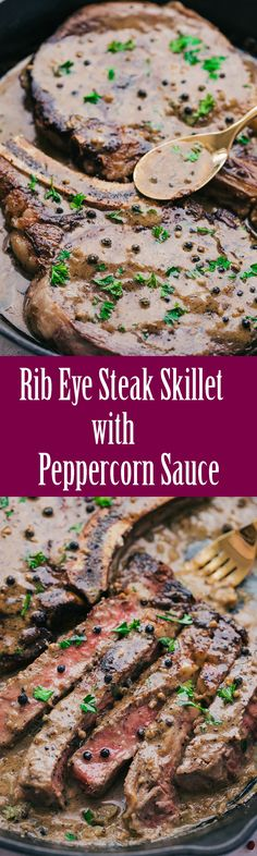 """If I could add a """"smell and taste"""" button to this I would! This Rib Eye Steak Skillet with Peppercorn Sauce is creamy, dreamy, and delicious. #RibEyeSteakSkilletwithPeppercornSauce #RibEyewithPeppercornSauce #RibEyeSteak #RibEyeSteakwithPeppercornSauce #SteakwithPeppercornSauce #PeppercornSauce #theFoodcafe #recipes #steak #ribeye #skillet #cooking #kitchn"""